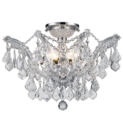 Regan 6-Light Flush Mount Crystal Color: Clear