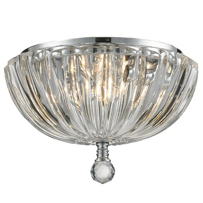 Mansfield 3-Light Flush Mount Size: 6 H x 10 W, Crystal Color: Clear