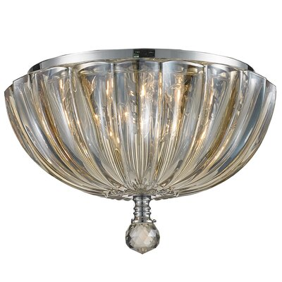 Mansfield 3-Light Flush Mount Size: 6 H x 10 W, Crystal Color: Golden Teak