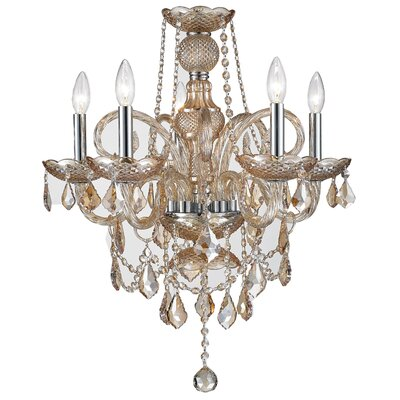 Doggett 5-Light Crystal Chandelier Crystal Color: Amber