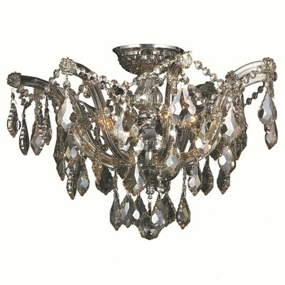 Regan 6-Light Flush Mount Crystal Color: Golden Teak