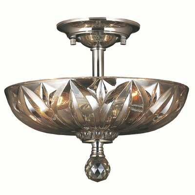 Mansfield 3-Light Flush Mount Crystal Color: Golden Teak