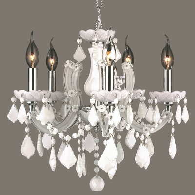 Catherine 5-Light Crystal Chandelier Crystal Color: White