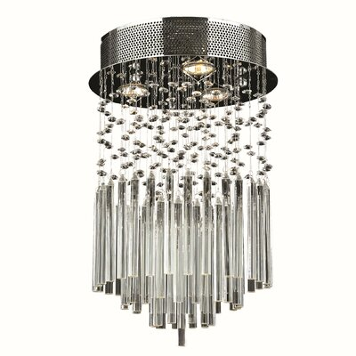KeAndre 3-Light Semi Flush Mount Crystal Color: Clear