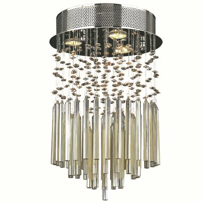 KeAndre 3-Light Semi Flush Mount Crystal Color: Golden Teak