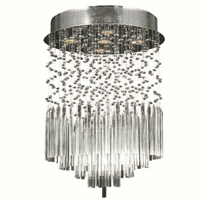 KeAndre 5-Light Glass Semi-Flush Mount Crystal Color: Clear