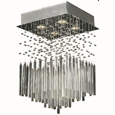 KeAndre 4-Light Semi Flush Mount Crystal Color: Clear