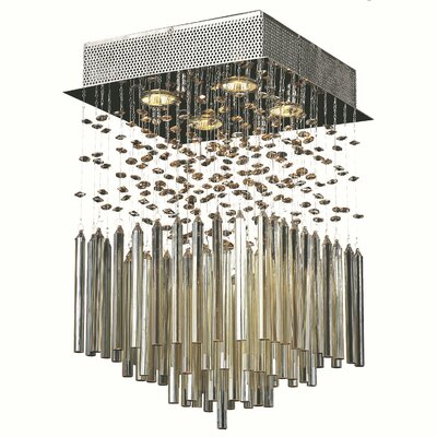 KeAndre 4-Light Semi Flush Mount Crystal Color: Golden Teak
