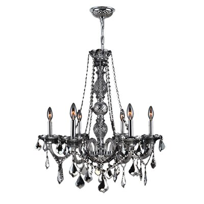 Doggett 6-Light Chain Crystal Chandelier Crystal Color: Smoke