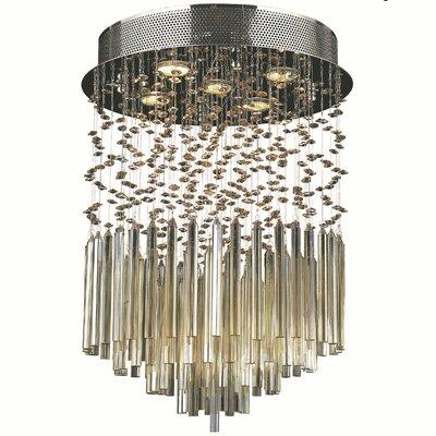 KeAndre 5-Light Glass Semi-Flush Mount Crystal Color: Golden Teak
