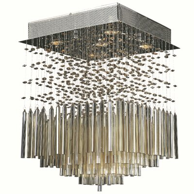 Torrent 5-Light Semi-Flush Mount Crystal Color: Golden Teak