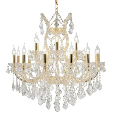 Kiazolu Glam 19-Light Crystal Chandelier Color: Gold