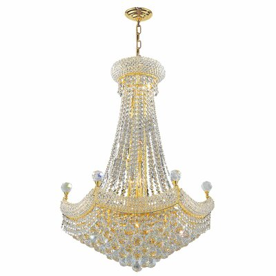 Carson 15-Light 40W Crystal Empire Chandelier Finish: Gold