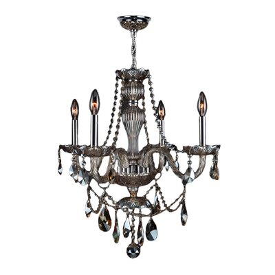 Doggett 4-Light Chain Crystal Chandelier Crystal Color: Golden Teak