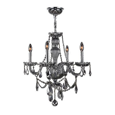 Doggett 4-Light Chain Crystal Chandelier Crystal Color: Smoke