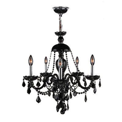 Doggett Traditional 5-Light Crystal Chandelier Crystal Color: Black