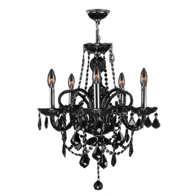 Doggett 5-Light Crystal Chandelier Crystal Color: Black