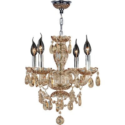 Provence 4-Light Crystal Chandelier Crystal Color: Amber