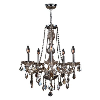 Doggett 5-Light Chain Crystal Chandelier Crystal Color: Golden Teak