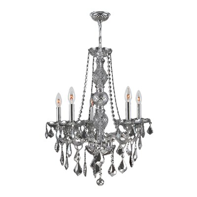 Provence 5-Light Crystal Chandelier Crystal Color: Smoke