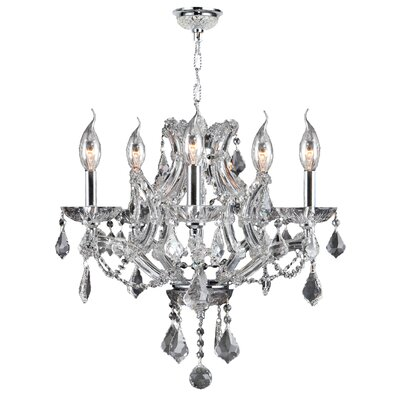 Lyre 5-Light Crystal Chandelier Crystal Color: Clear
