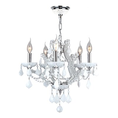 Lyre 5-Light Crystal Chandelier Crystal Color: White