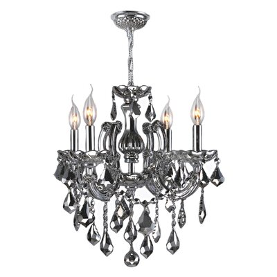 Roslyn Traditional 4-Light Crystal Chandelier Crystal Color: Smoke