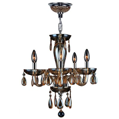 Roni 5-Light Crystal Chandelier Glass Color: Amber