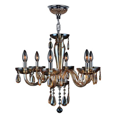 Roni 6-Light Candle-Style Chandelier Glass Color: Amber