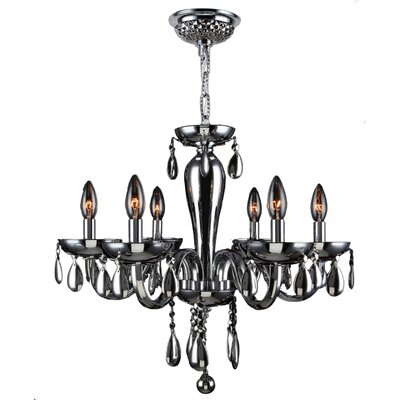 Roni 6-Light Candle-Style Chandelier Glass Color: Chrome