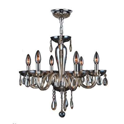 Roni 6-Light Candle-Style Chandelier Glass Color: Golden Teak