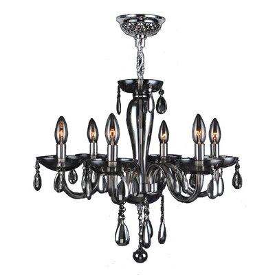 Roni 6-Light Candle-Style Chandelier Glass Color: Smoke
