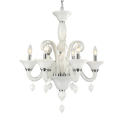 Murano 6-Light Candle-Style Chandelier Finish: White