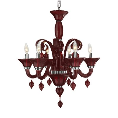 Murano 6-Light Candle-Style Chandelier Finish: Cranberry Red