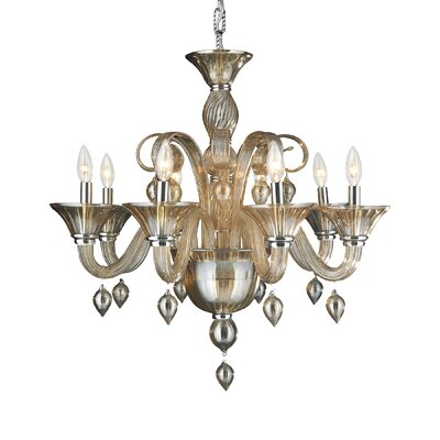 Melvina Contemporary 8-Light Candle-Style Chandelier Crystal Color: Amber