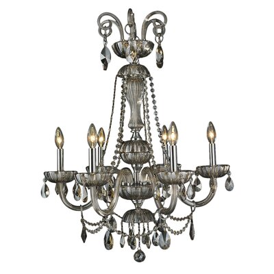 Carbajal 6-Light Glass Crystal Chandelier Crystal Color: Golden Teak