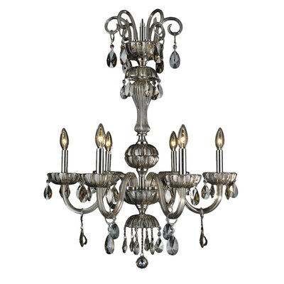 Carbajal 6-Light Crystal Chandelier Crystal Color: Golden Teak