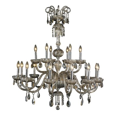 Carbajal 18-Light Crystal Chandelier Crystal Color: Golden Teak