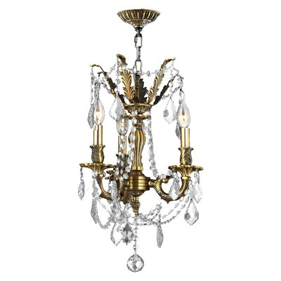Radtke 3-Light Crystal Chandelier Crystal Color: Clear