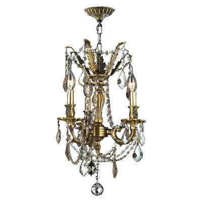 Radtke 3-Light Crystal Chandelier Crystal Color: Golden Teak