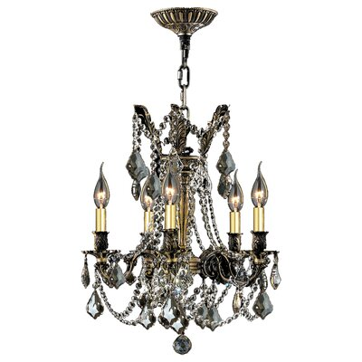 Windsor 5-Light Crystal Chandelier Crystal Color: Golden Teak
