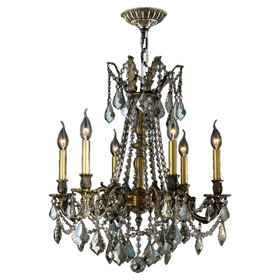 Windsor 6-Light Crystal Chandelier Crystal Color: Golden Teak