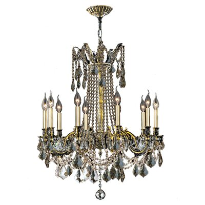 Windsor 10-Light Crystal Chandelier Crystal Color: Golden Teak