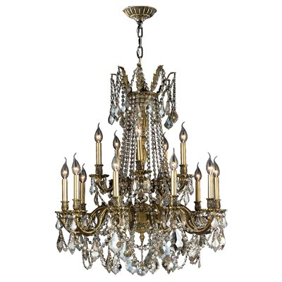 Windsor 15-Light Crystal Chandelier Finish: Antique Bronze