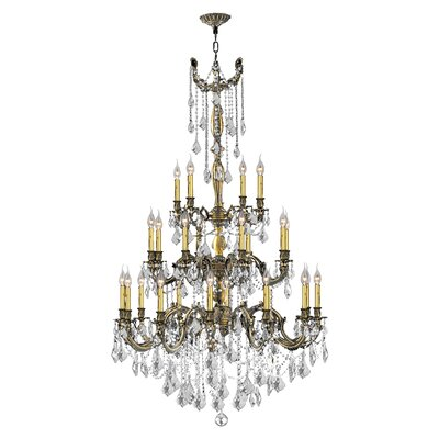 Radtke 25-Light Crystal Chandelier Finish: Antique Bronze, Crystal Color: Clear