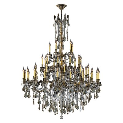 Radtke 45-Light Glass Crystal Chandelier Crystal Color: Golden Teak