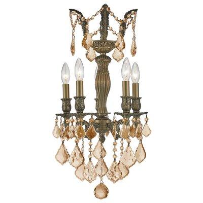 Versailles 5-Light Crystal Chandelier Finish: Antique Bronze