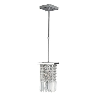 Torrent 1-Light Mini-Pendant Crystal Color: Clear