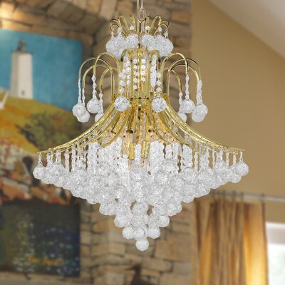 Carson 15-Light Crystal Chandelier Finish: Gold