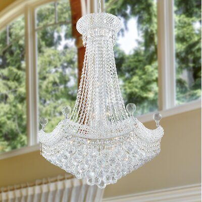 Carson 15-Light 40W Crystal Empire Chandelier Finish: Chrome